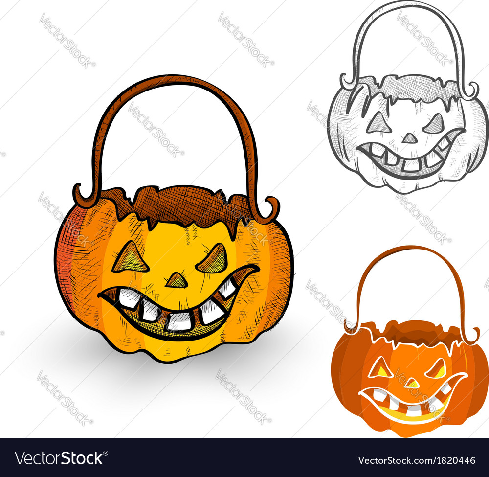 Halloween monsters isolated spooky pumpkin vector | Price: 1 Credit (USD $1)
