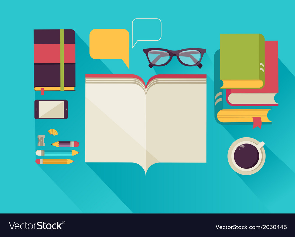 Reading books desktop set of flat icons vector | Price: 1 Credit (USD $1)