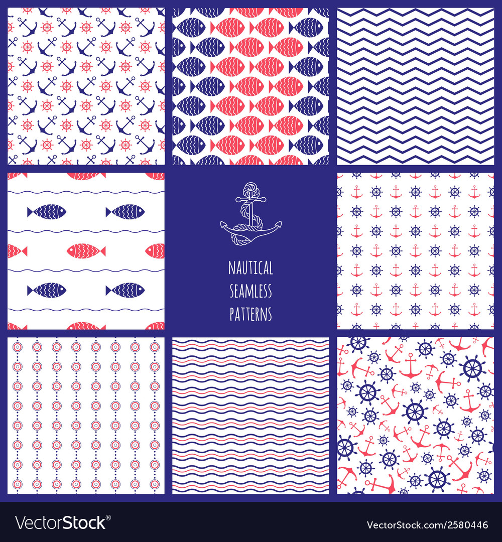 Set of eamless nautical patterns vector | Price: 1 Credit (USD $1)