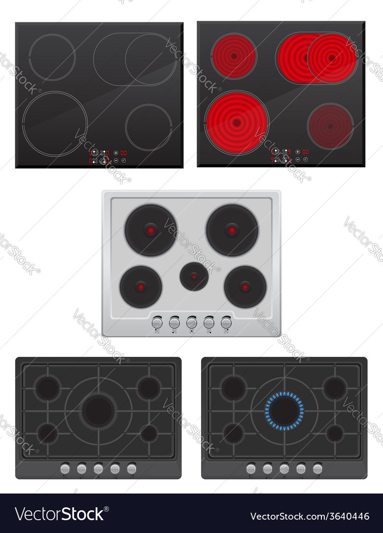 Set surface for electric and gas stove vector | Price: 1 Credit (USD $1)