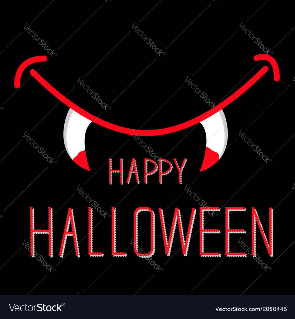 Vampire mouth with fangs halloween card vector | Price: 1 Credit (USD $1)