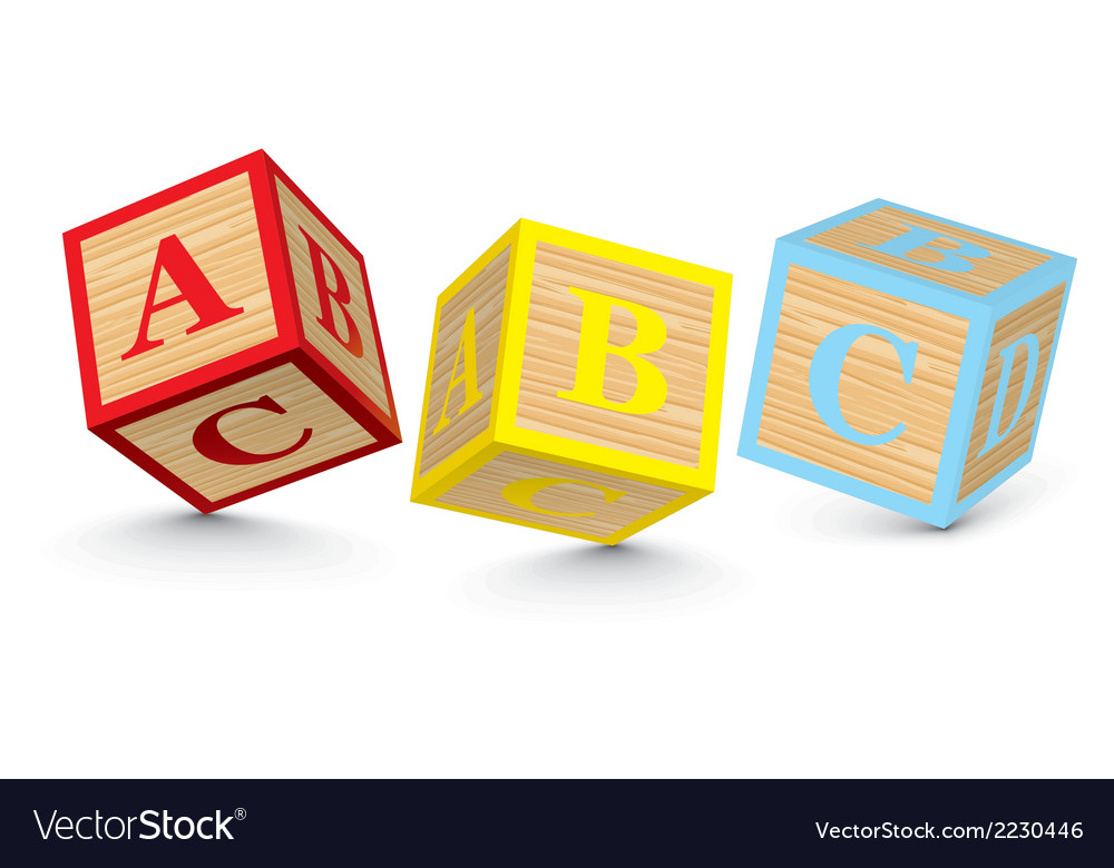Word abc written with alphabet blocks vector | Price: 1 Credit (USD $1)