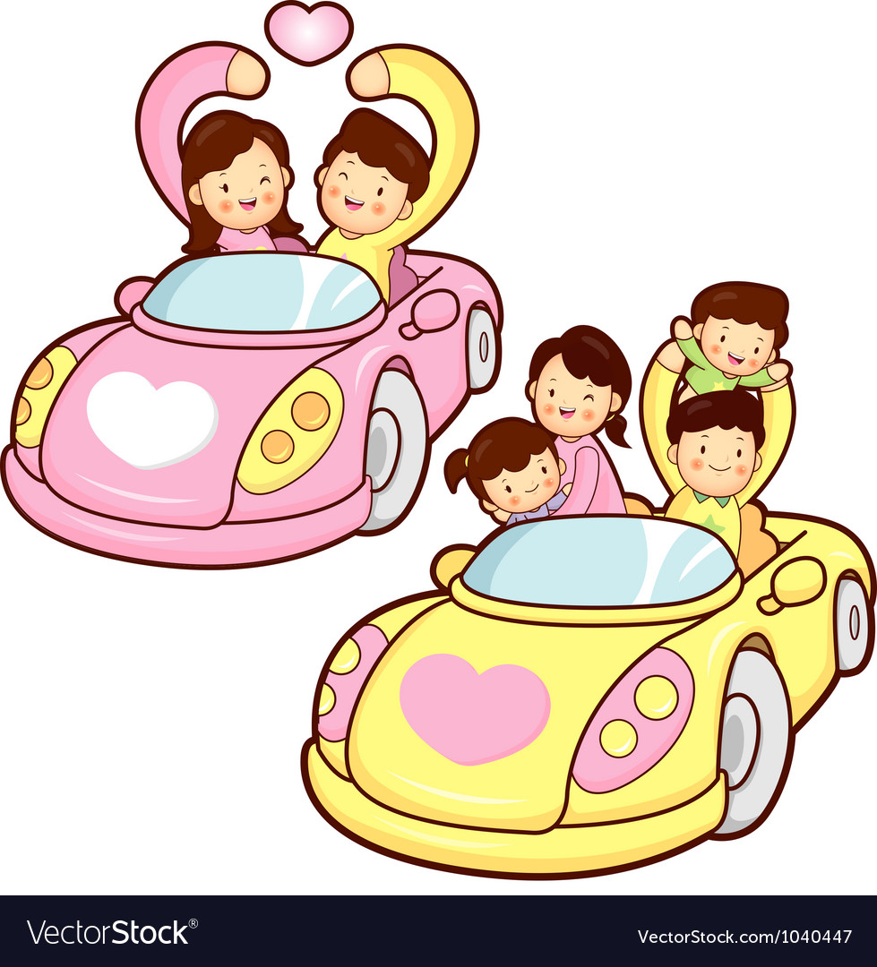 Car ride family and couples home character design vector | Price: 3 Credit (USD $3)