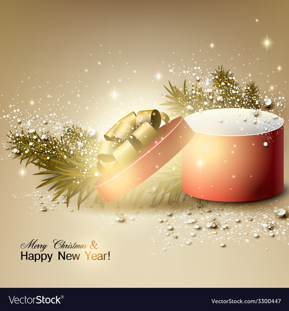 Christmas background with gift xmas box with bow vector | Price: 3 Credit (USD $3)