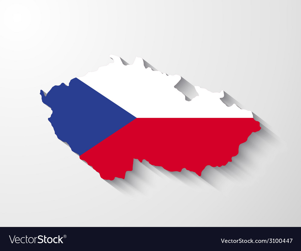 Czech republic map with shadow effect vector | Price: 1 Credit (USD $1)