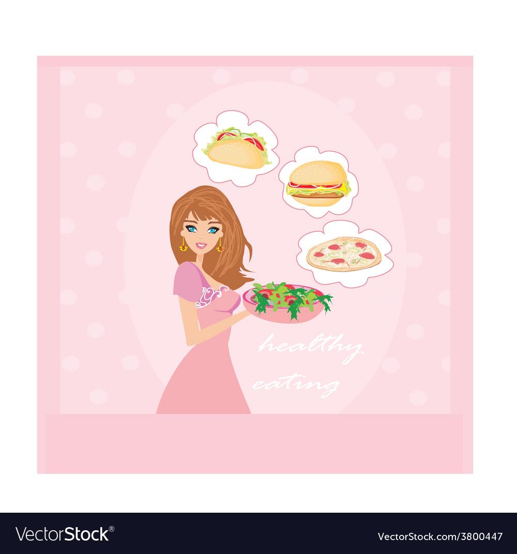 Diet eating temptation vector | Price: 1 Credit (USD $1)