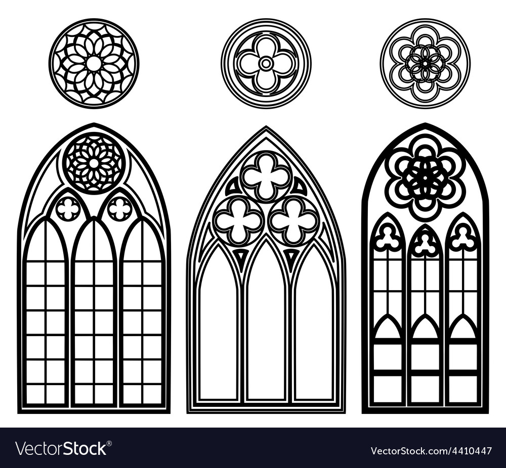 Gothic windows of cathedrals vector | Price: 1 Credit (USD $1)