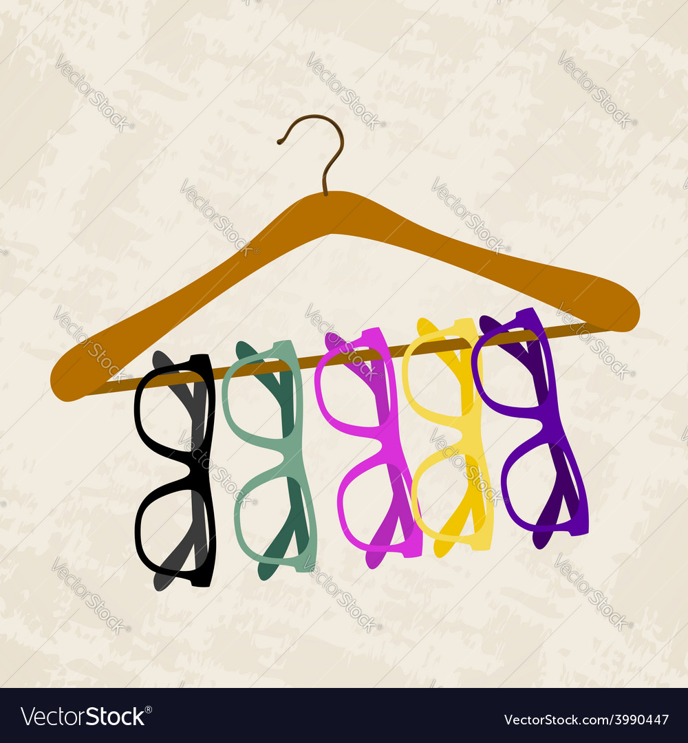 Hipster glasses on a hanger for clothes vector | Price: 1 Credit (USD $1)