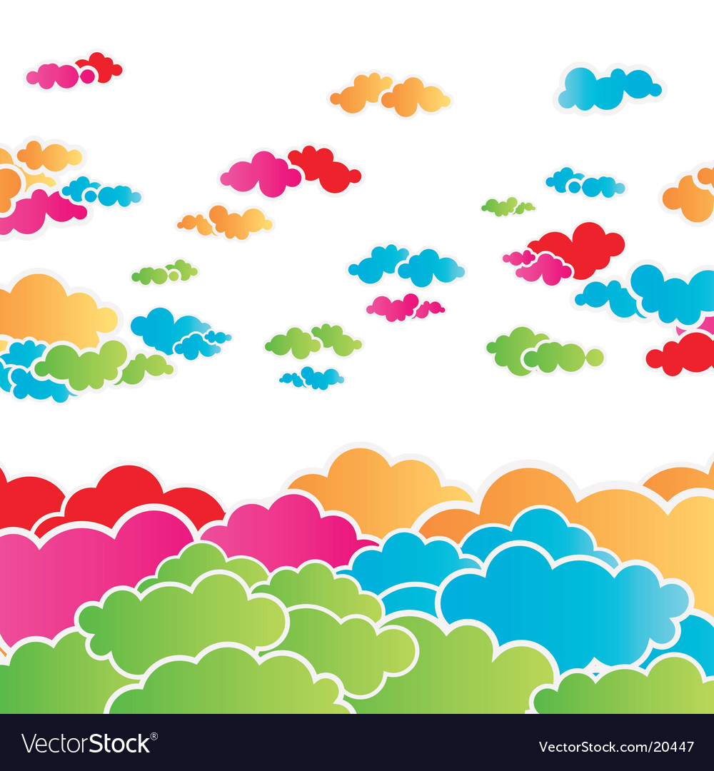 Rainbow cloudscape background vector | Price: 1 Credit (USD $1)