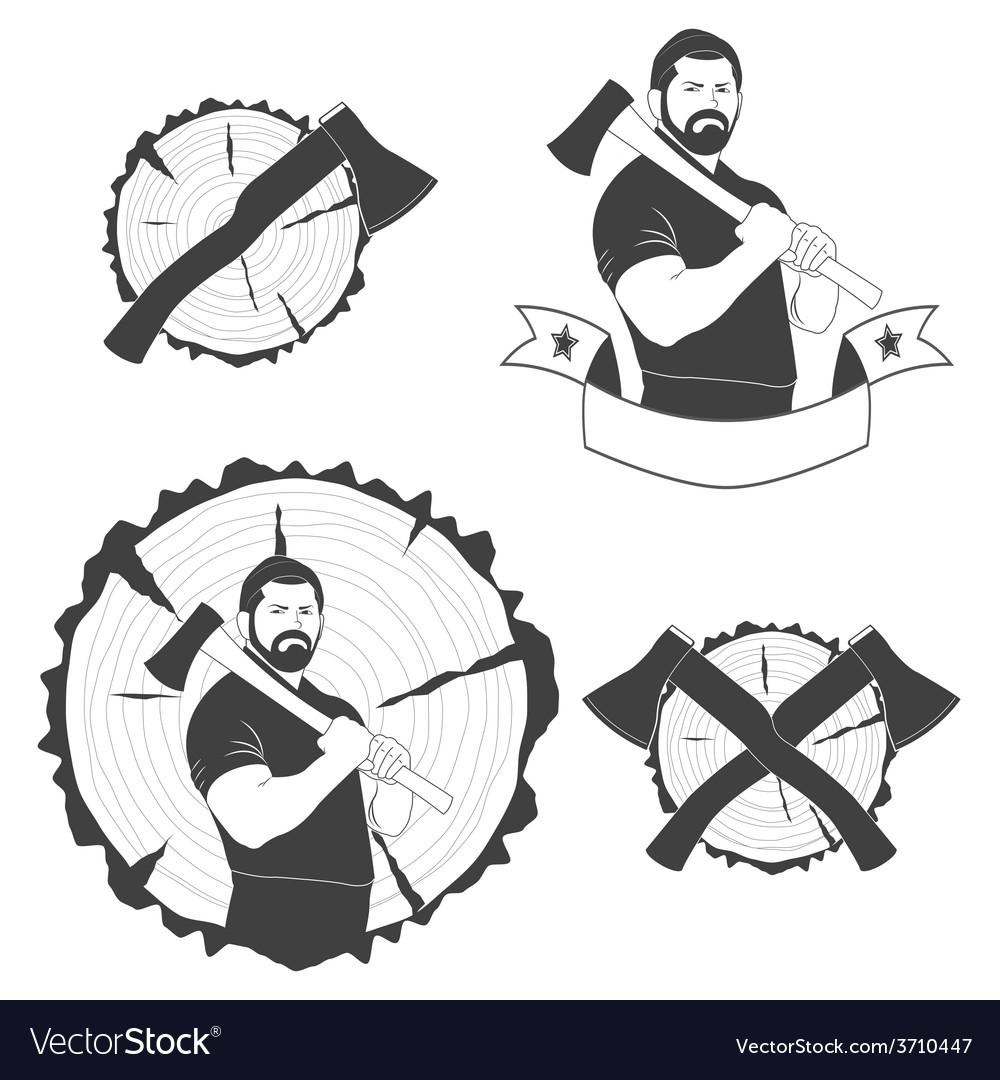 Set of stylish logos lumberjack vector | Price: 1 Credit (USD $1)