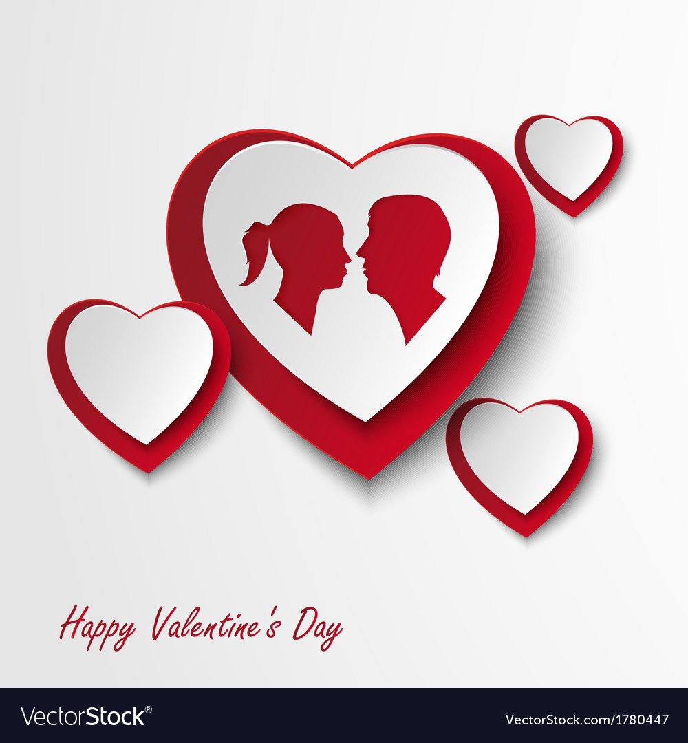 Valentine card with hearts and lovers vector | Price: 1 Credit (USD $1)