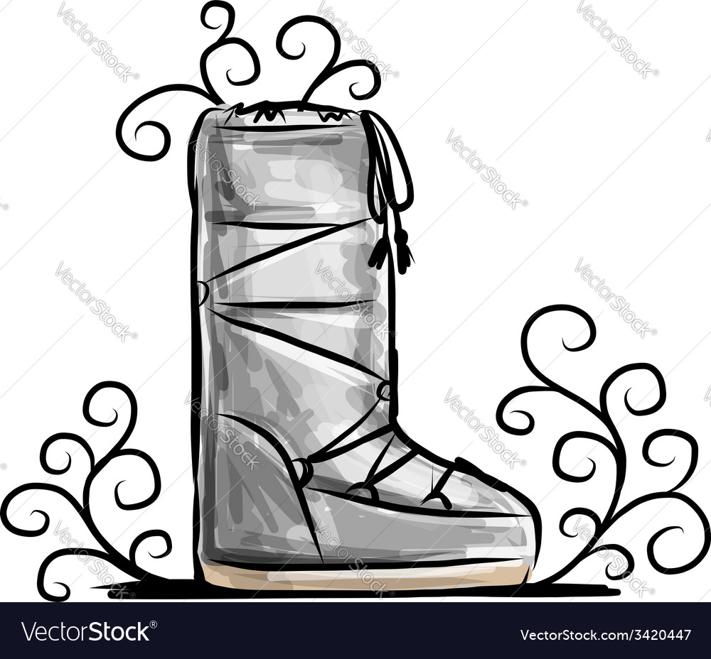 Winter shoes sketch for your design vector | Price: 1 Credit (USD $1)