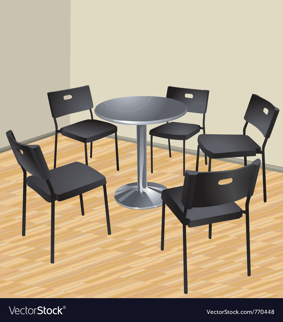 Five chairs and table interior scene vector | Price: 1 Credit (USD $1)
