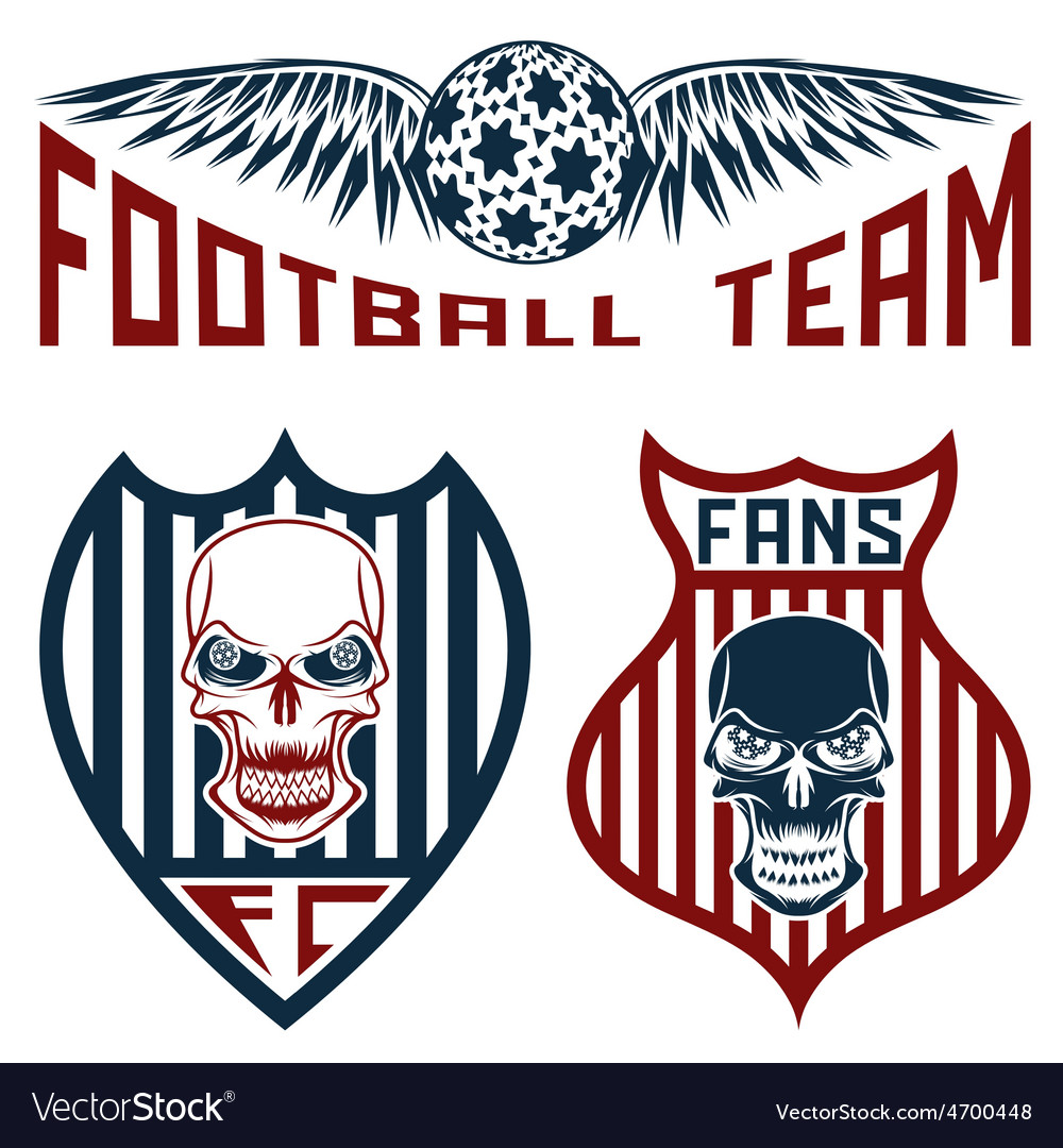 Football team crests set with wings and skulls vector | Price: 1 Credit (USD $1)
