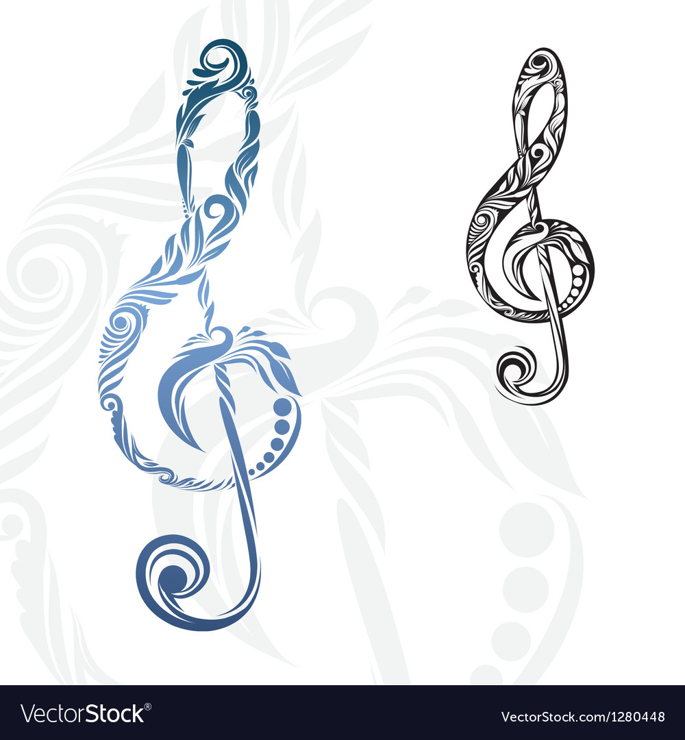 Musical note ornament vector | Price: 1 Credit (USD $1)