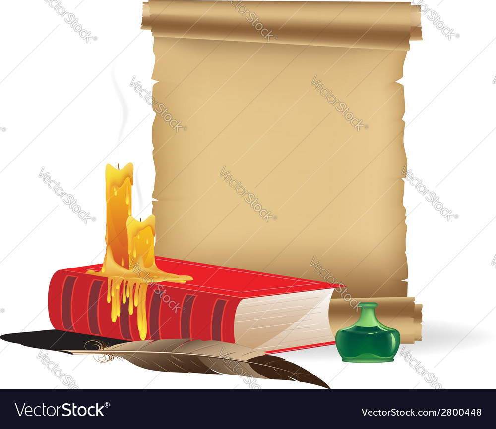 Old paper and book with candles and a feather vector | Price: 1 Credit (USD $1)
