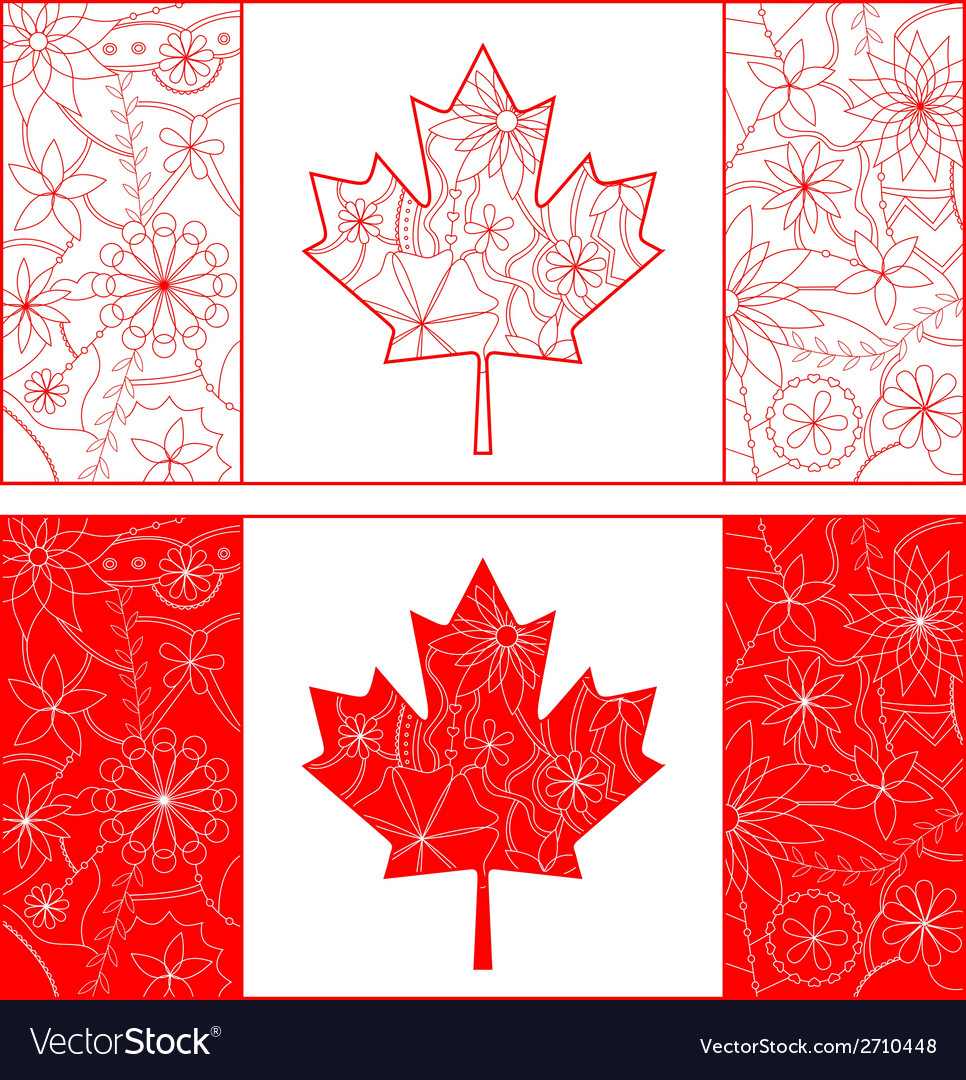 Outline of canada flag vector | Price: 1 Credit (USD $1)