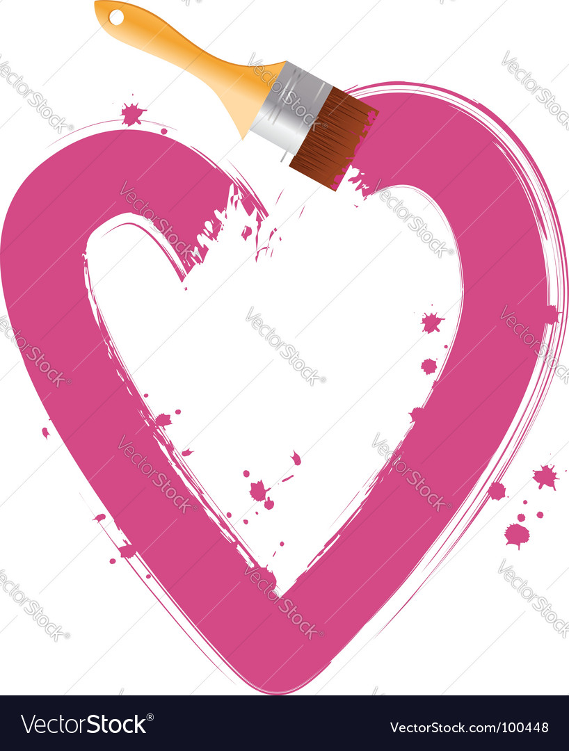 Paintbrush pink heart vector | Price: 1 Credit (USD $1)