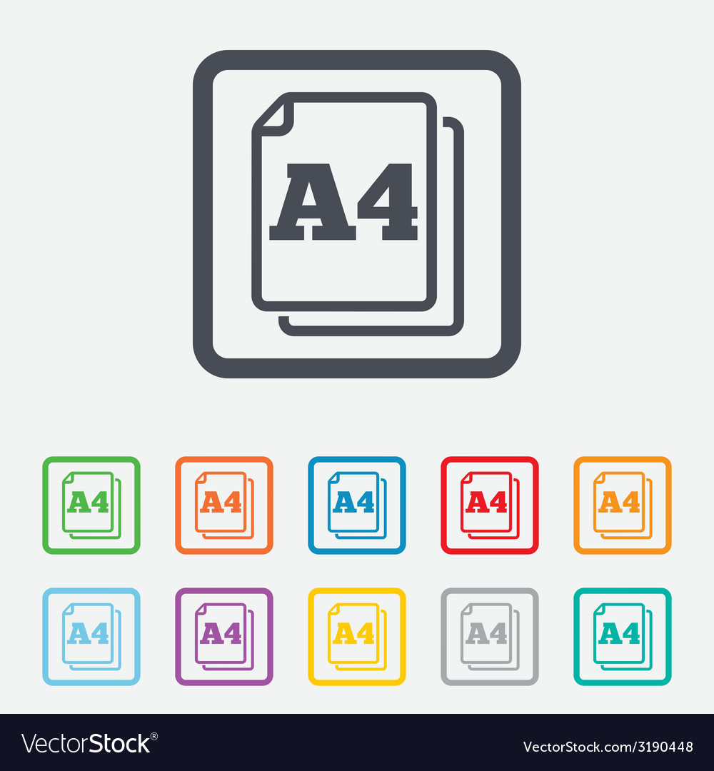 Paper size a4 standard icon document symbol vector   Price: 1 Credit (USD $1)