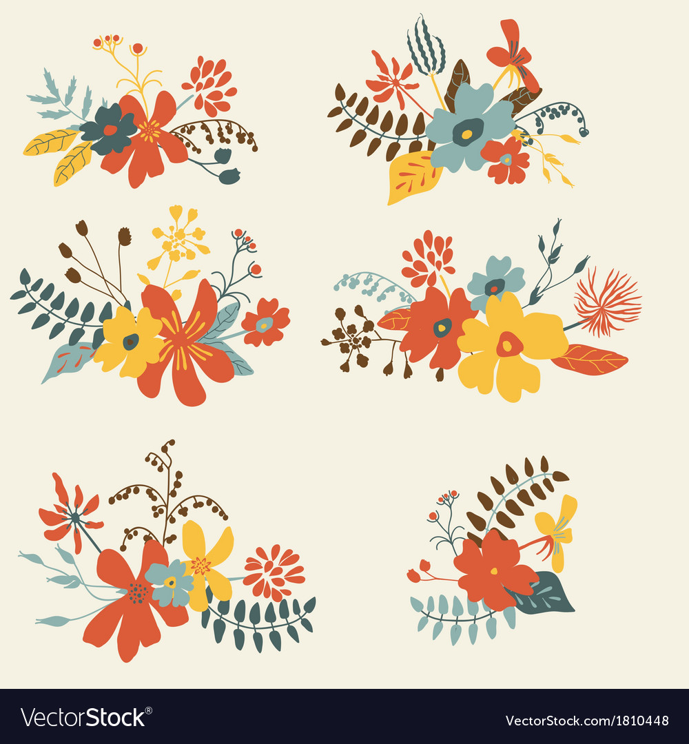 Set of six graphic floral design bunch vector | Price: 1 Credit (USD $1)