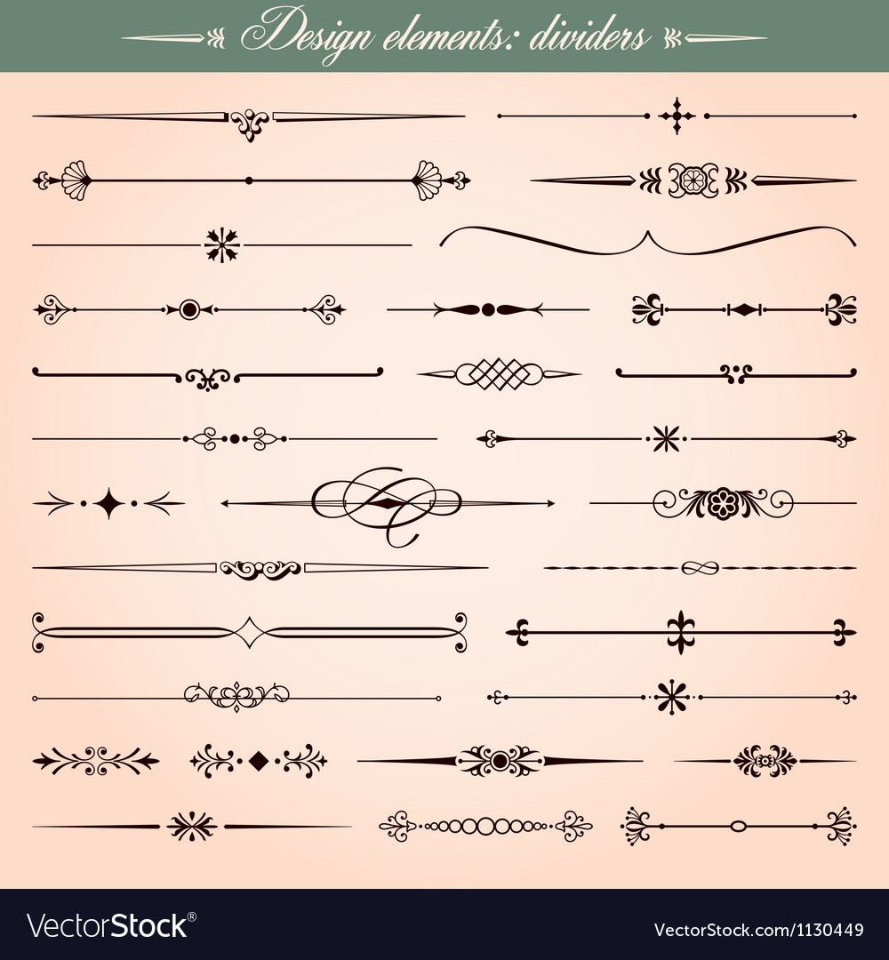 Calligraphic dividers and dashes vector | Price: 1 Credit (USD $1)
