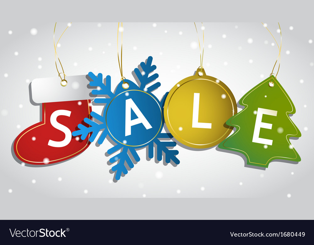 Christmas sale tags on a snowy background vector   Price: 1 Credit (USD $1)