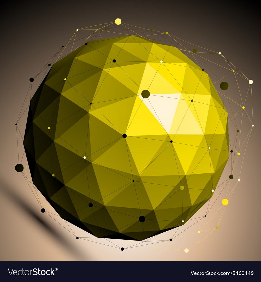 Gold abstract spherical object with lines mesh vector | Price: 1 Credit (USD $1)