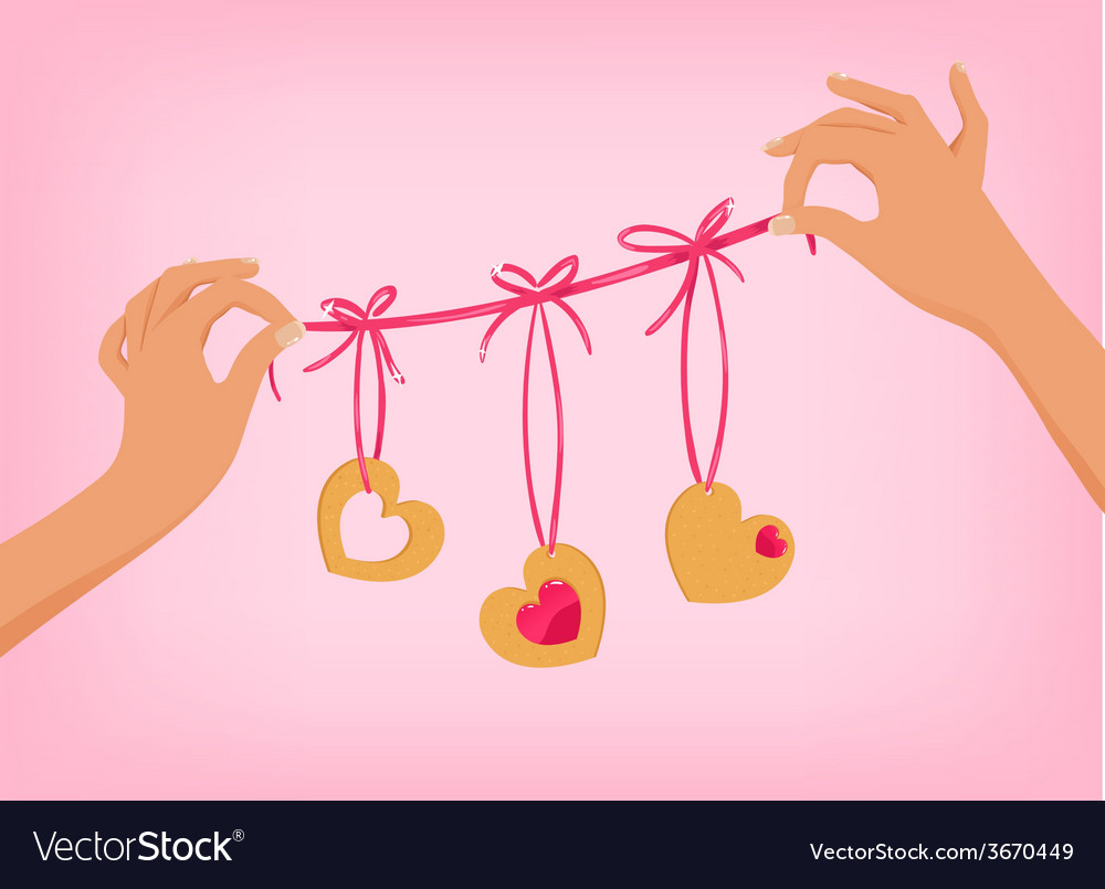 Hands holding cute valentines day garland with vector | Price: 1 Credit (USD $1)