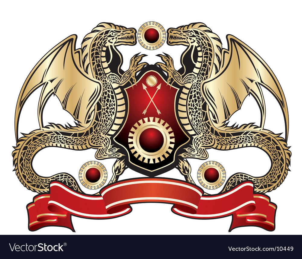 Heraldic dragon sign vector | Price: 3 Credit (USD $3)
