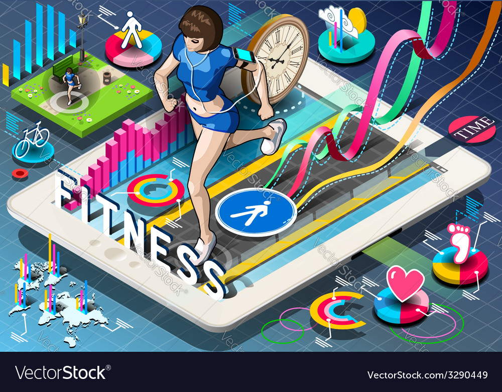 Isometric infographic with jogging woman vector | Price: 1 Credit (USD $1)