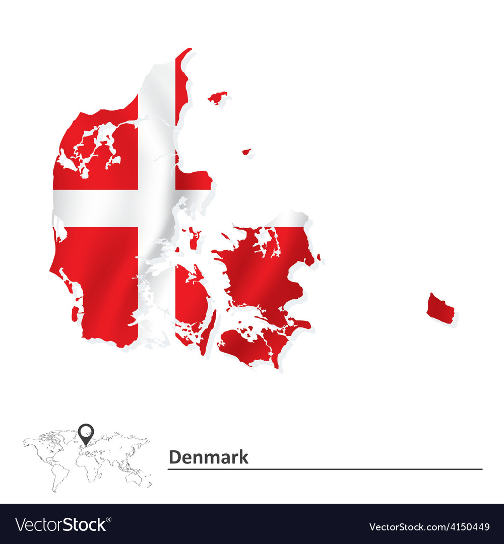 Map of denmark with flag vector | Price: 1 Credit (USD $1)