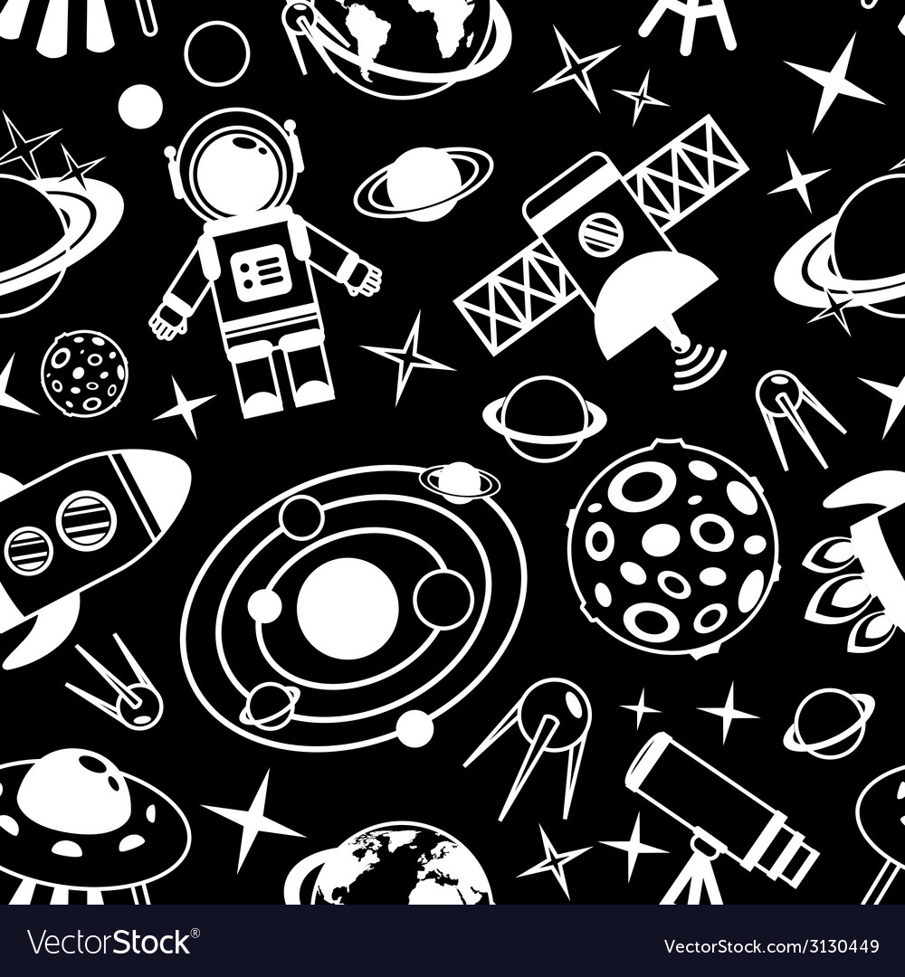 Space black and white seamless pattern vector | Price: 1 Credit (USD $1)