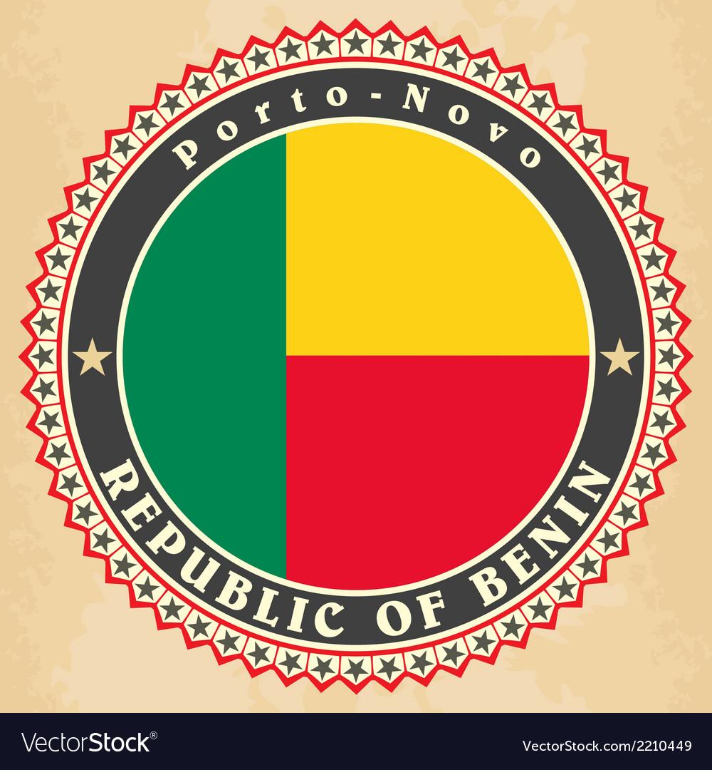 Vintage label cards of benin flag vector   Price: 1 Credit (USD $1)