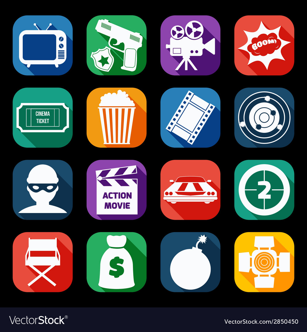 Action movie icons set vector | Price: 1 Credit (USD $1)