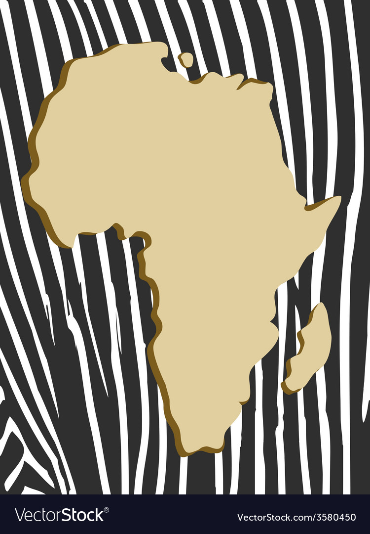 African poster with zebra pattern and map vector | Price: 1 Credit (USD $1)