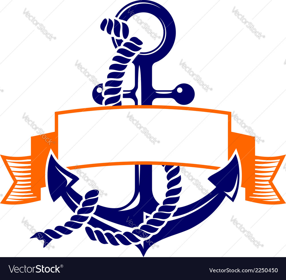 Anchor with a banner symbol vector | Price: 1 Credit (USD $1)