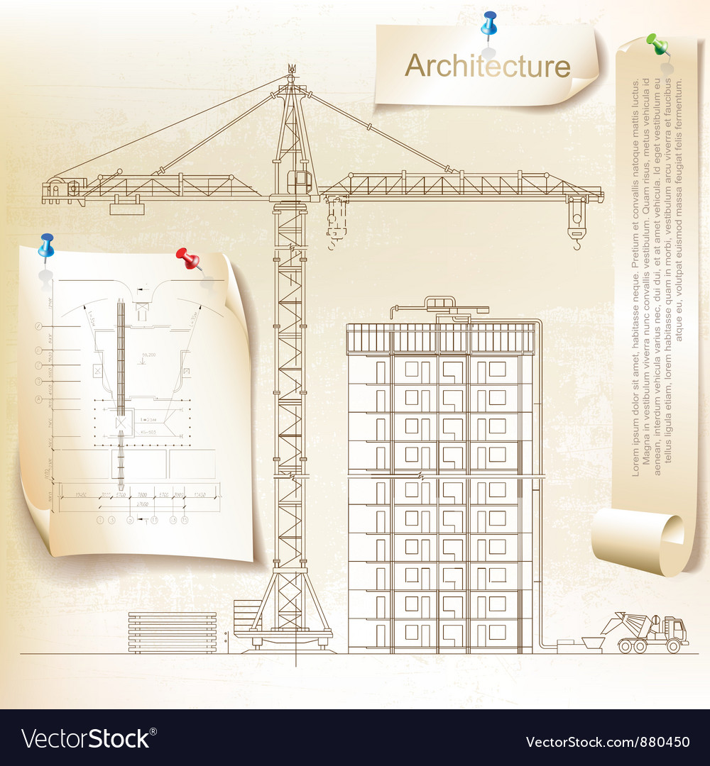 Architectural background with a crane vector | Price: 1 Credit (USD $1)