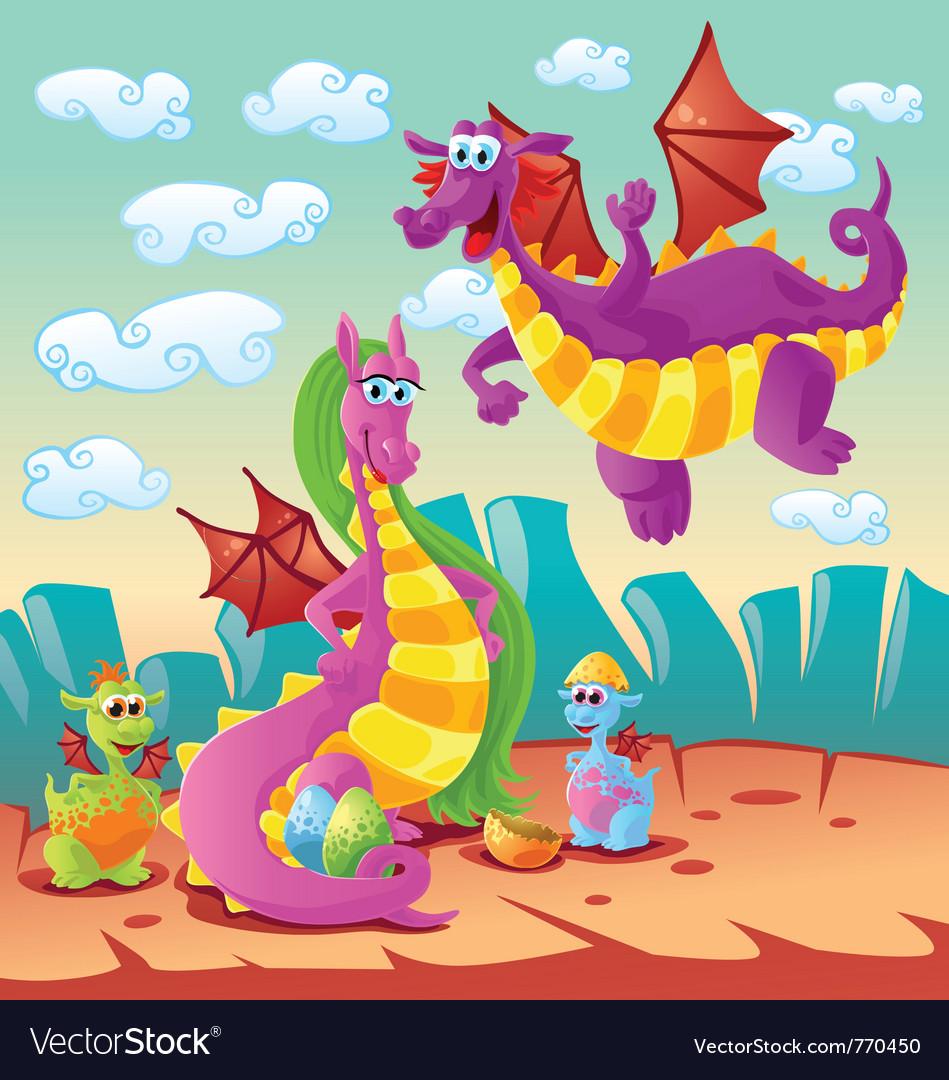 Dragon family scene vector   Price: 3 Credit (USD $3)