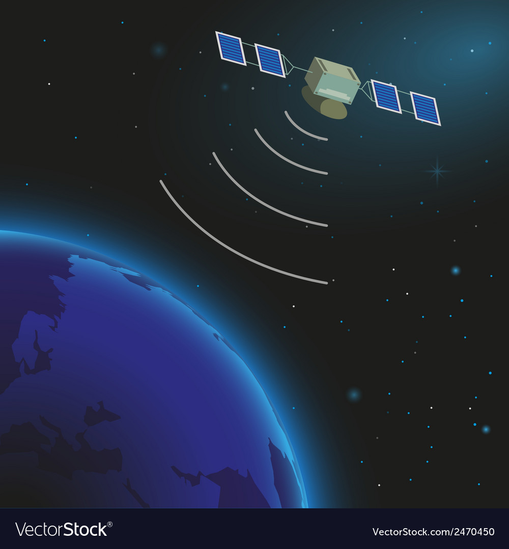 Earth and satellite vector | Price: 1 Credit (USD $1)