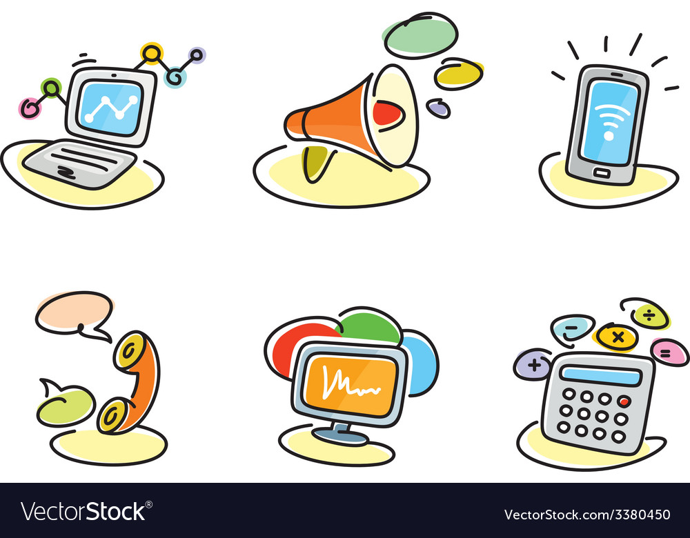 Electronic device icons in cartoon style vector | Price: 1 Credit (USD $1)