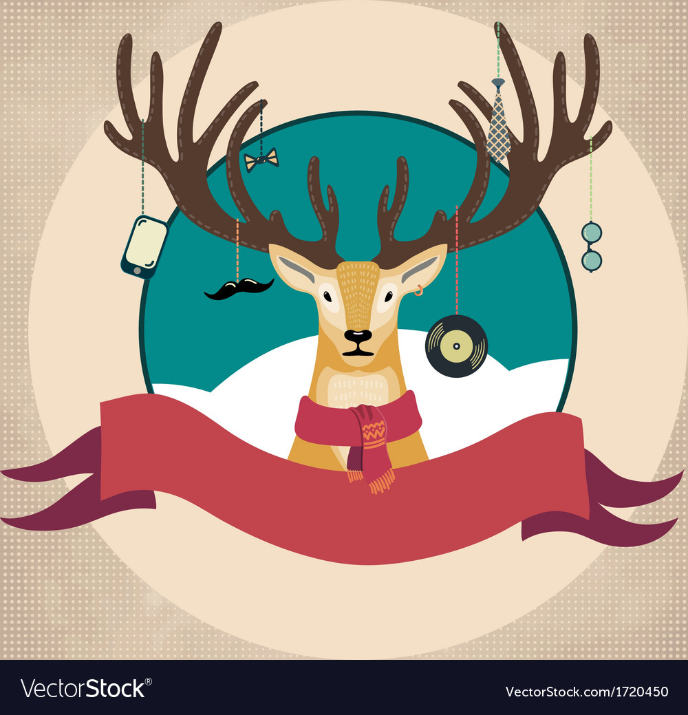 Hand drawn of deer hipster in scarf merry vector | Price: 1 Credit (USD $1)