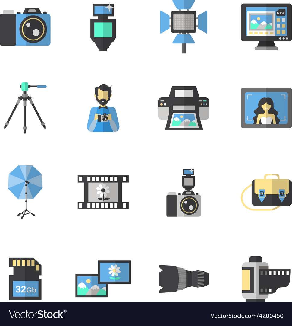 Photography icons flat vector | Price: 1 Credit (USD $1)