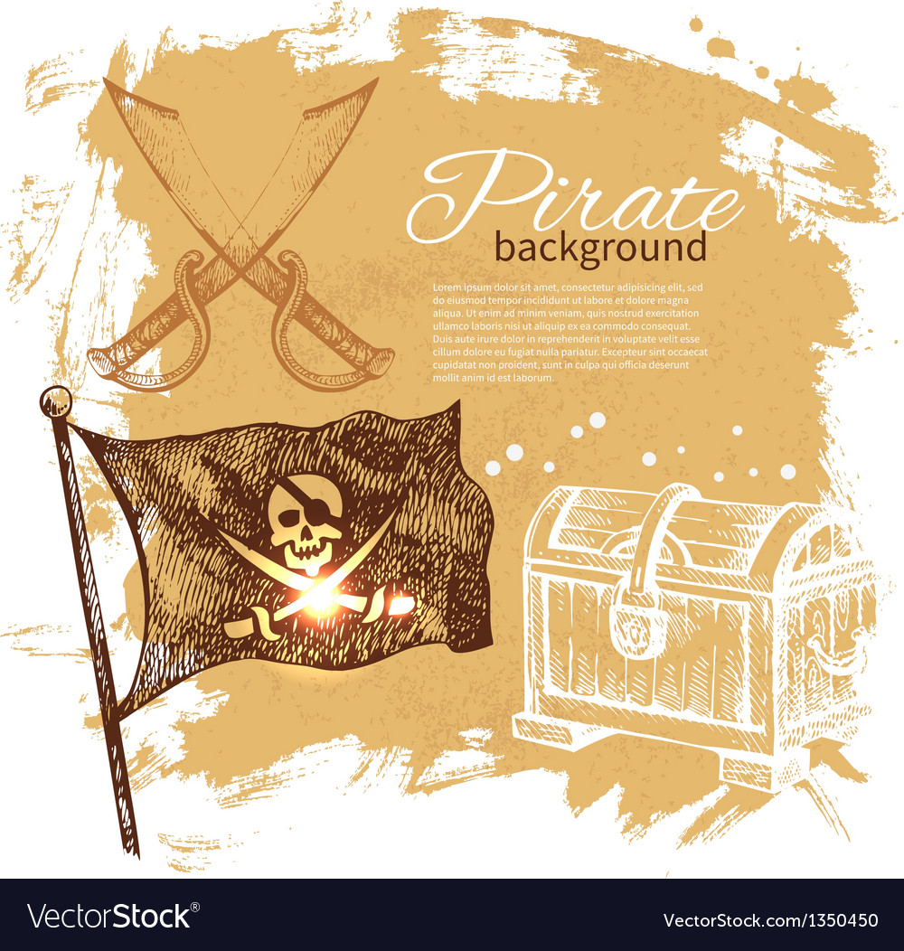 Pirate vintage hand drawn background vector | Price: 1 Credit (USD $1)