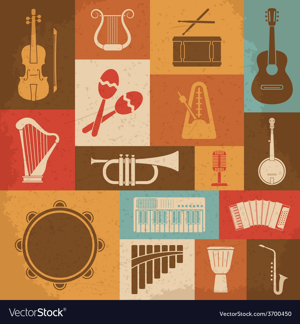 Retro musical instruments icons vector | Price: 1 Credit (USD $1)