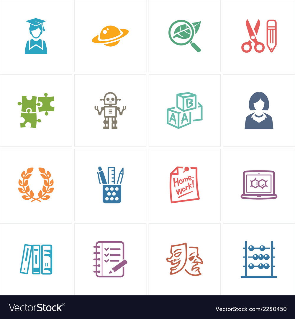 School and education icons set 5 - colored series vector | Price: 1 Credit (USD $1)