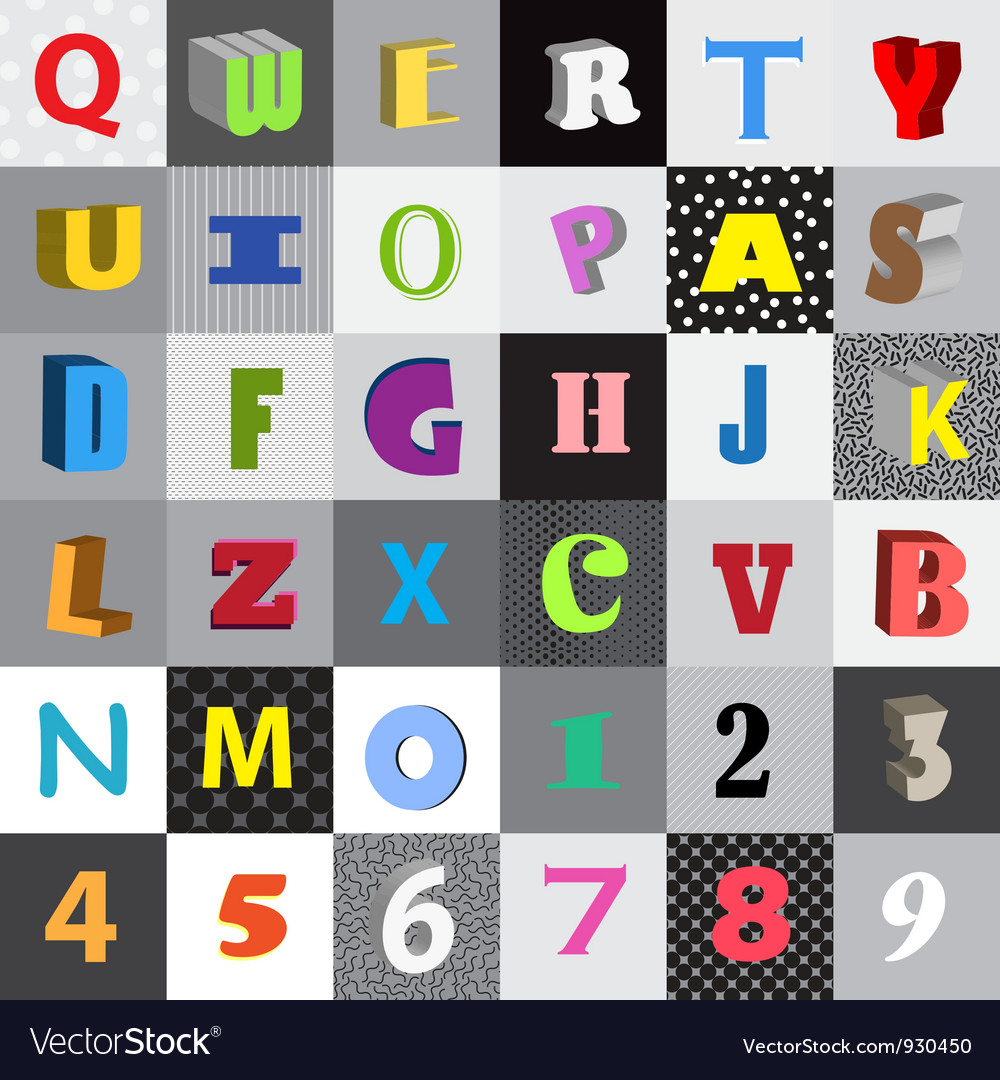Set of letters in color squares vector | Price: 1 Credit (USD $1)