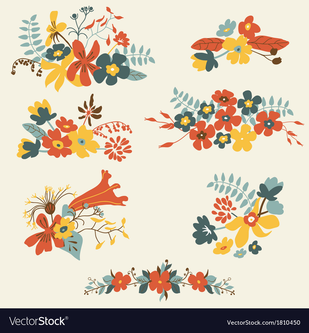 Set of seven cute floral bouquets bunch vector | Price: 1 Credit (USD $1)