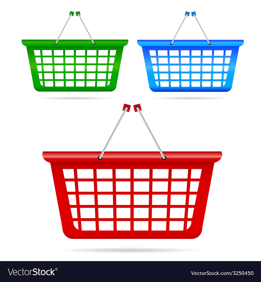 Shopping basket in three color vector | Price: 1 Credit (USD $1)