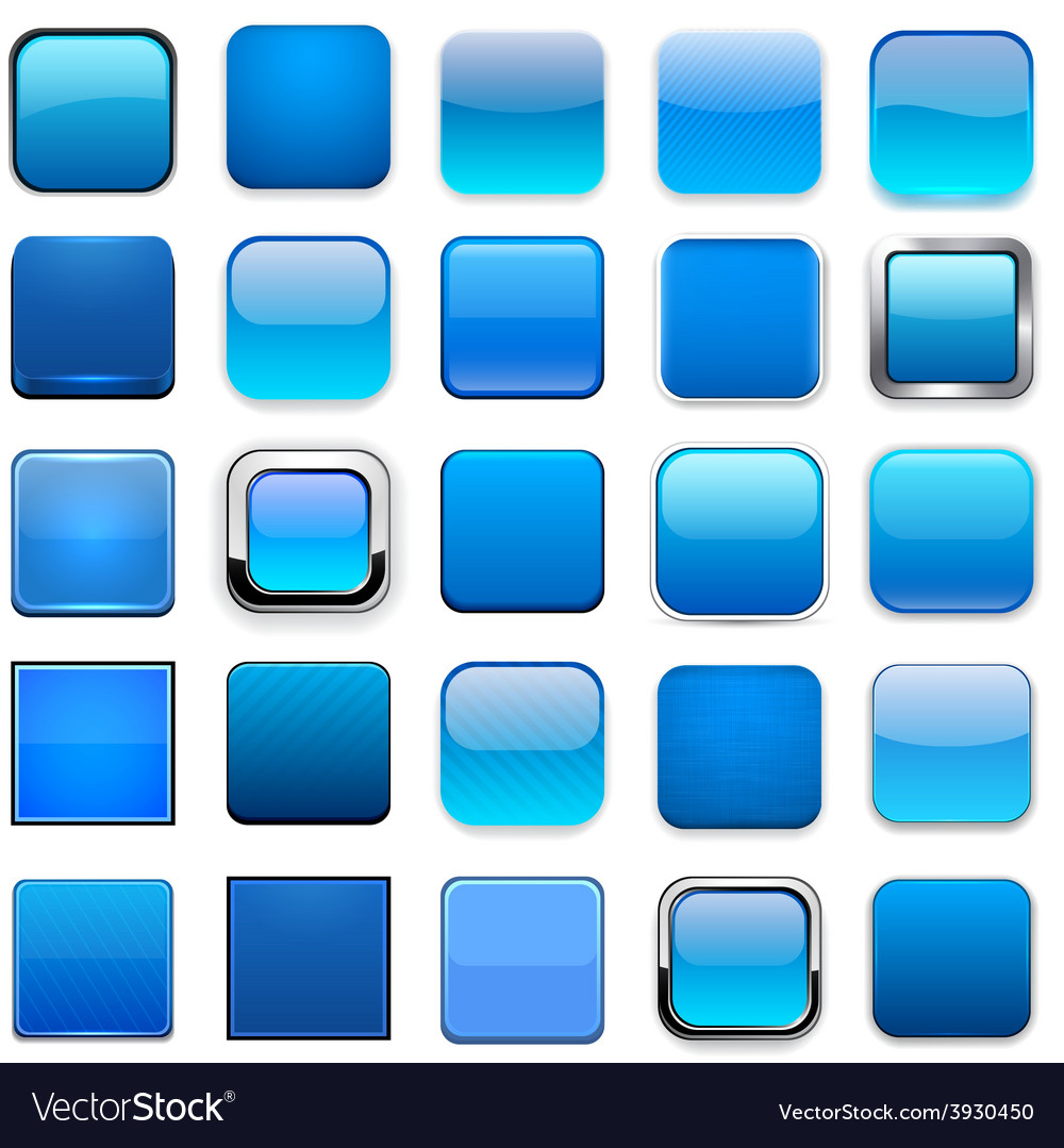 Square blue app icons vector