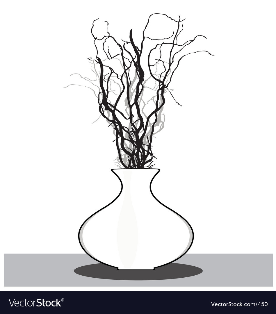 Vase with twigs vector | Price: 1 Credit (USD $1)